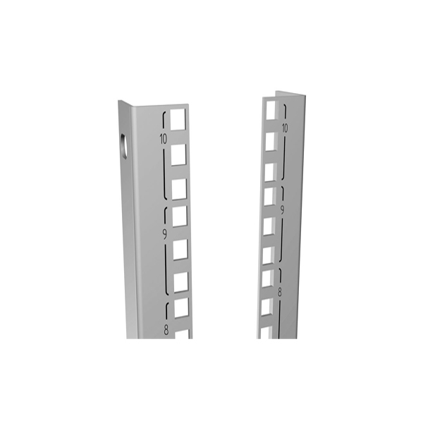 Square Hole Punched and 10-32 Tapped Mounting Rail C4PR Series Use with C4 Cabinet Series