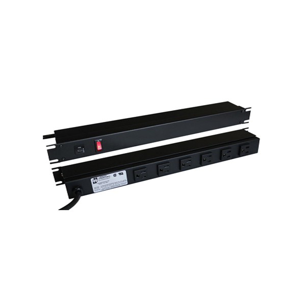 15 Amp Horizontal Rackmount Outlet Strip 1583 Series Front and/or Rear Mounted Receptacles