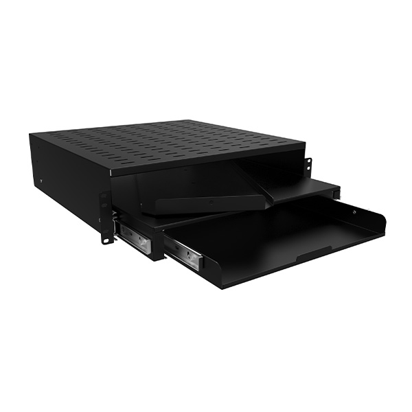 Two or Four Post Mounting 3-in-1 Shelf and Keyboard Drawer RMS Series
